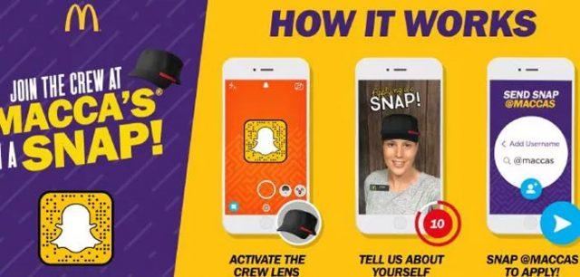 McDonalds Snapchat Filter Recruitment Campaign